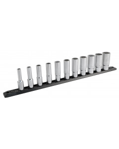 "3/8 Inch Drive 12 Point Deep Socket Set 1/4 to 7/8"" with Ratchet and Extensions 13-Piece"