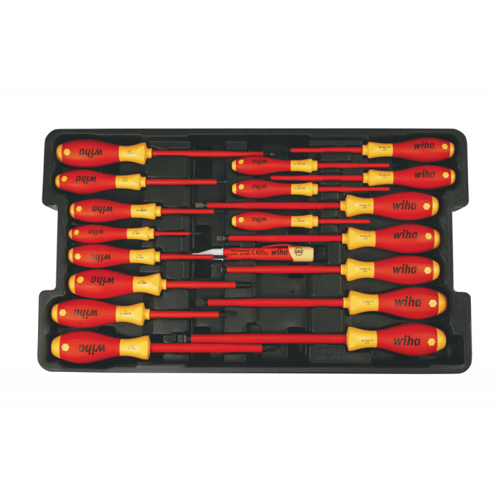 19 Piece Insulated SoftFinish Screwdriver and Cat III Voltage Detector Set with Toolbox Tray