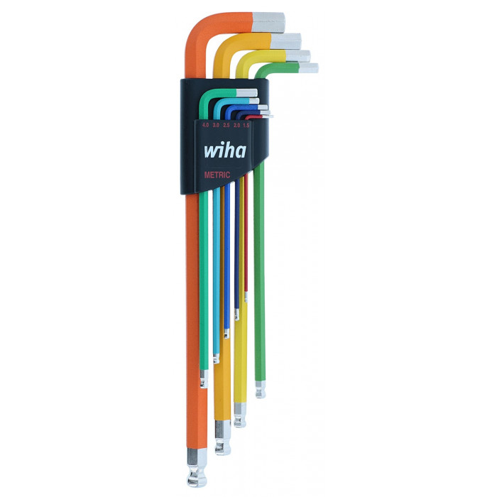 9 Piece Ball End Color Coded Hex L-Key Set - Metric
