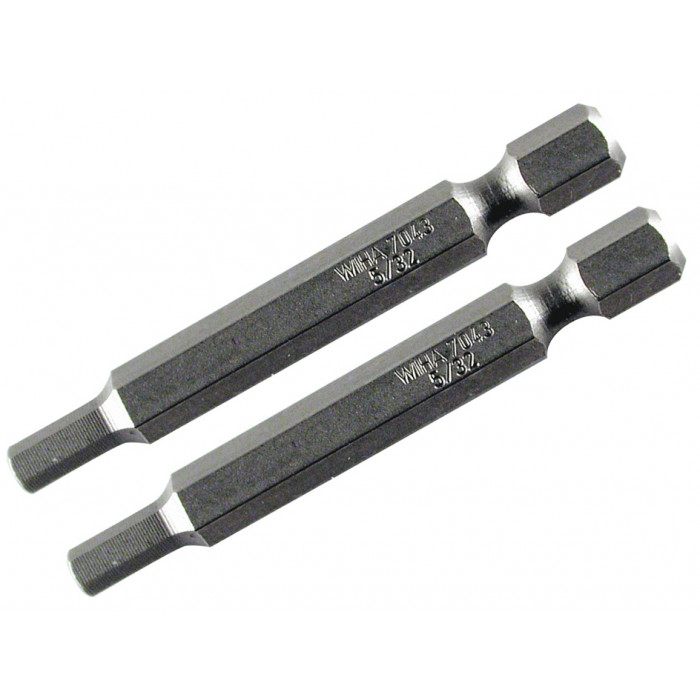 Hex Inch Power Bit 7/64 x 70mm Pack of 2 Bits